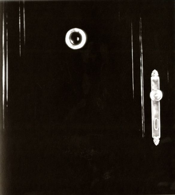 Untitled (Diptych--Exterior Apartment Door with Nameplate and Peephole, 1938). Robert Longo. 2000. Graphite and charcoal on mounted paper.