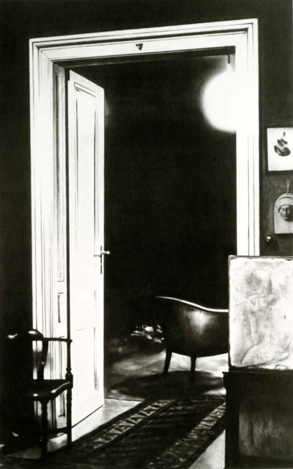 Untitled (open door, consulting room to study, 1938). Robert Longo. 2000. Graphite and charcoal on mounted paper.
