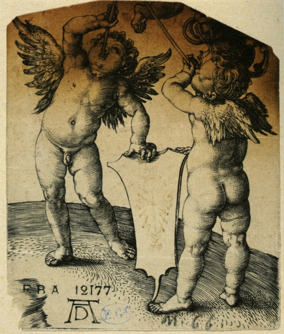 Albrecht Dürer, Three Putti, ca. 1505, burin engraving, 8 x 7.2 cm