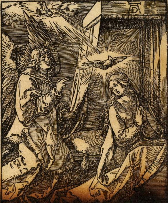 "Albrecht Dürer, The Annonciation, ca. 1510, from ""The Passion,"" 1511, wood engraving, 12 x 10 cm"