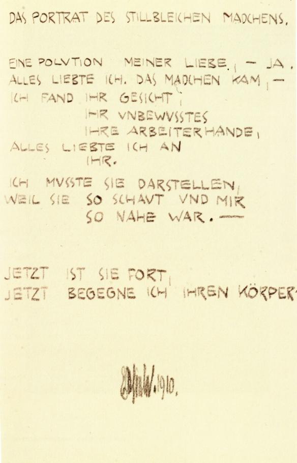 Egon Schiele, The Portrait, poem