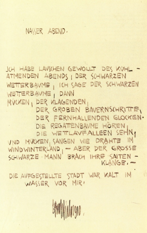 Egon Schiele, Wet Evening, poem