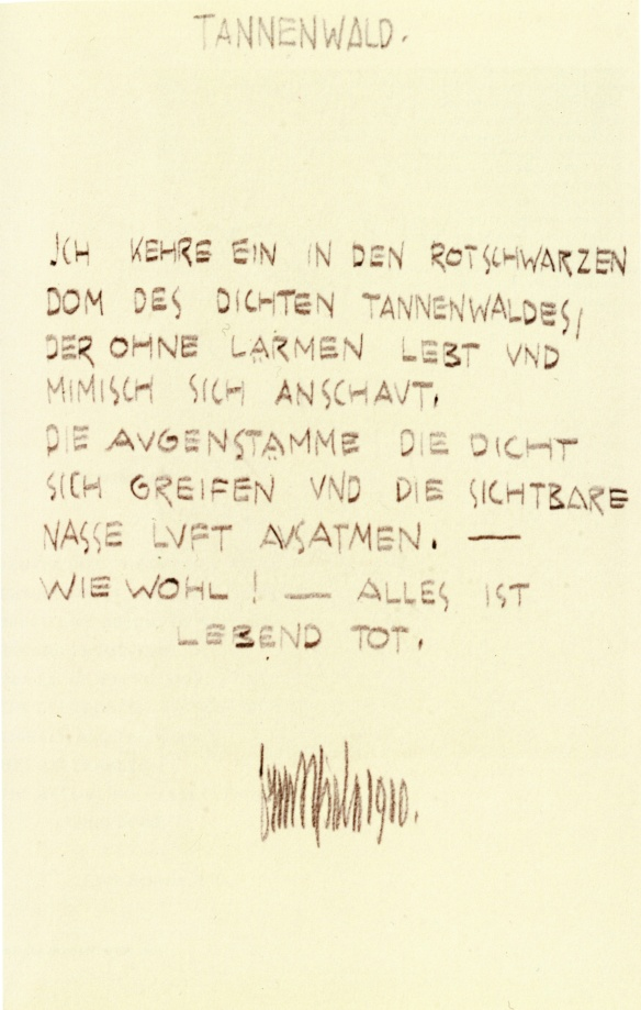 Egon Schiele, Fir Forest, poem