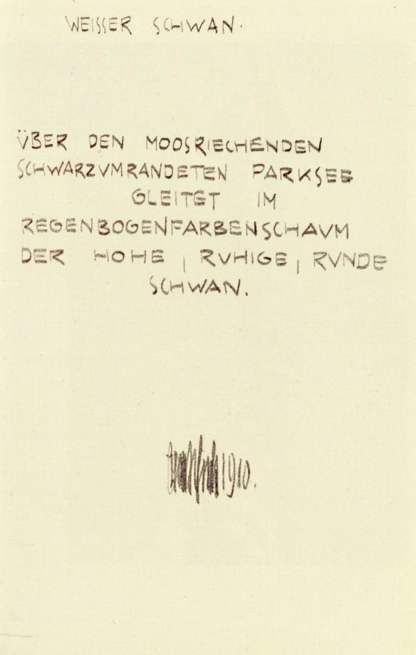 Egon Schiele, White Swan, poem